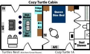 A top down view of walls and room layout for the Cozy Turtle Cabin showing the kitchenette and dining area on the left, and the bed/bath on the right side.